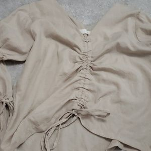 Tops - Korean fashion ruched shirring blouse